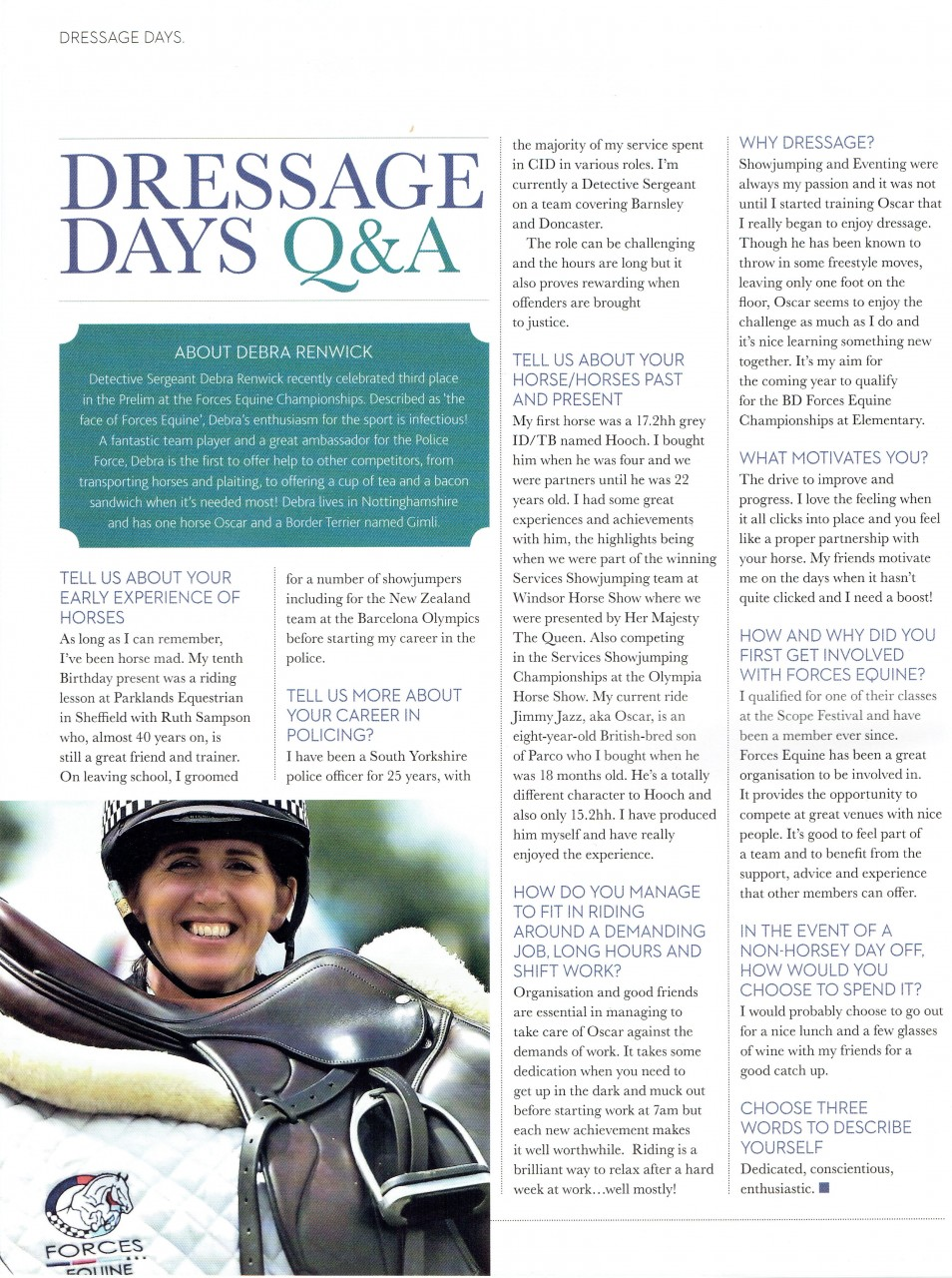 Fantastic write up in British Dressage magazine on our very own DS Debra Renwick