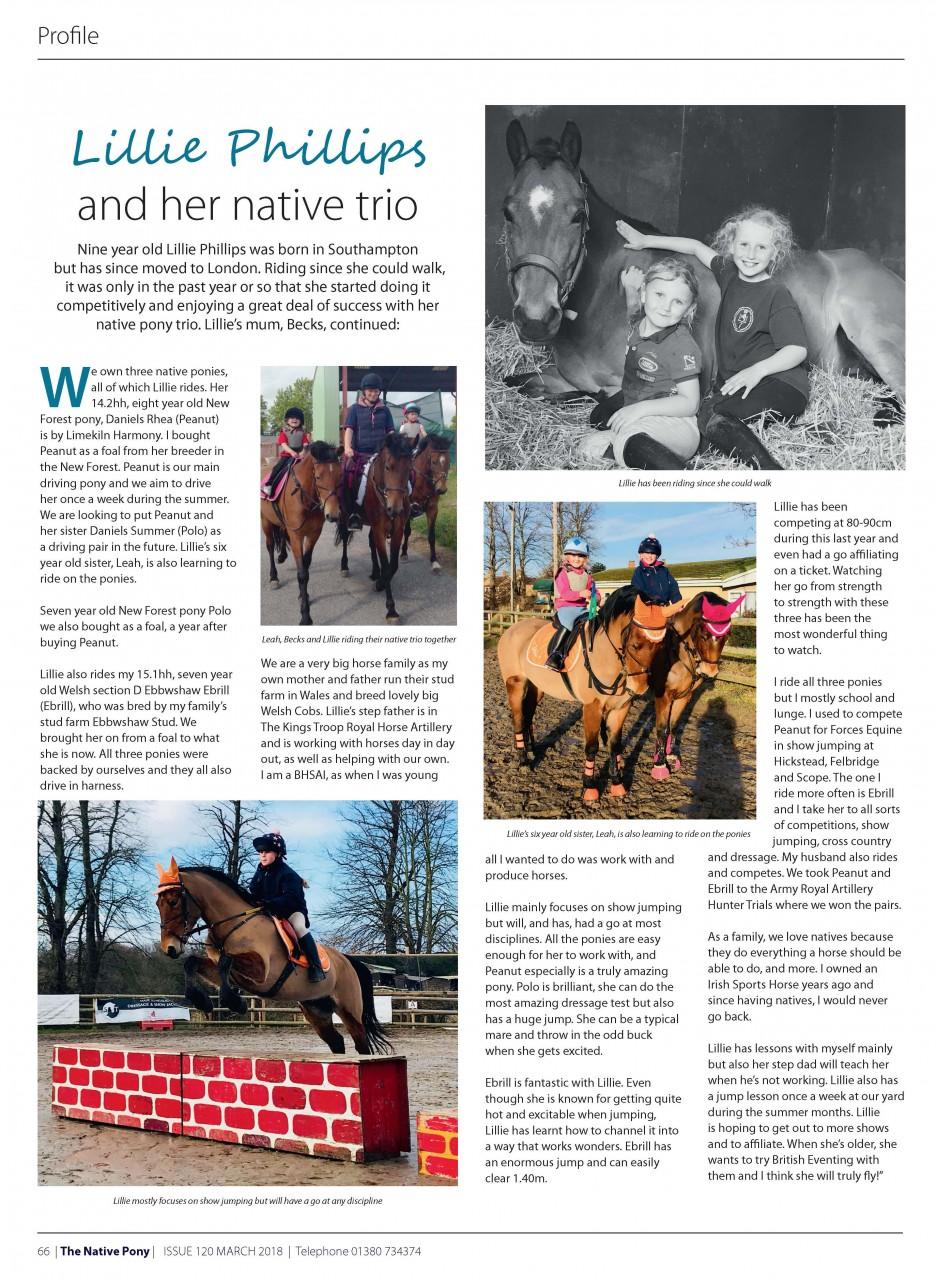 FEYRA rider Lillie Phillips makes it to Native Pony Magazine